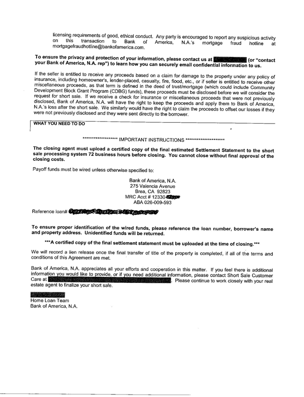 BANK OF AMERICA SHORT SALE APPROVAL LETTER