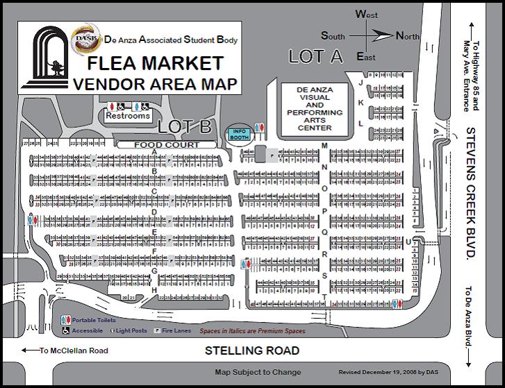 De Anza Flea Market - First Saay of every month. Cupertino CA De Anza Map on