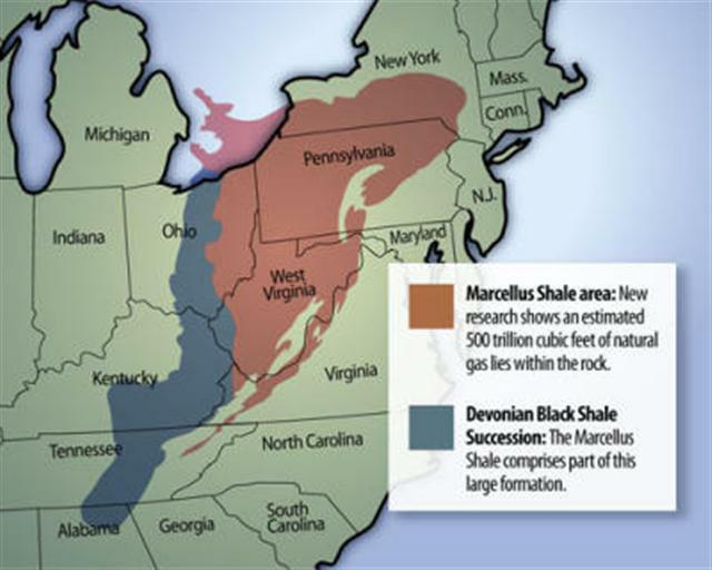 Map of the Marcellus Shale deposit