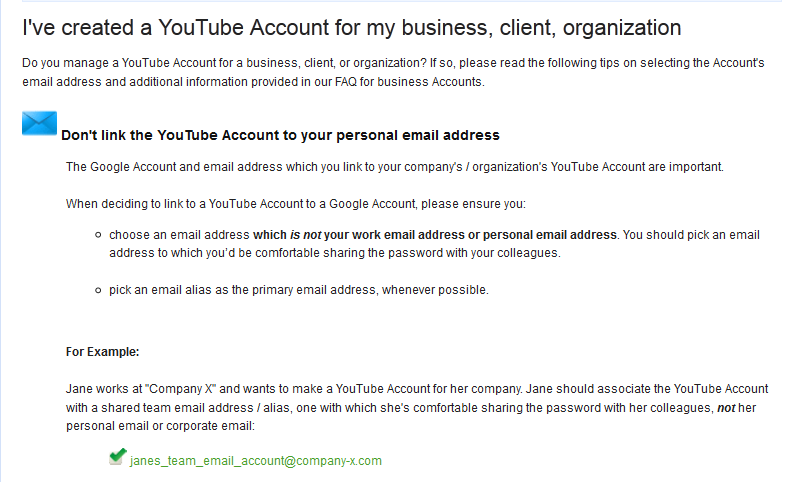 Do NOT Link Company YouTube Channel to Personal Email Address