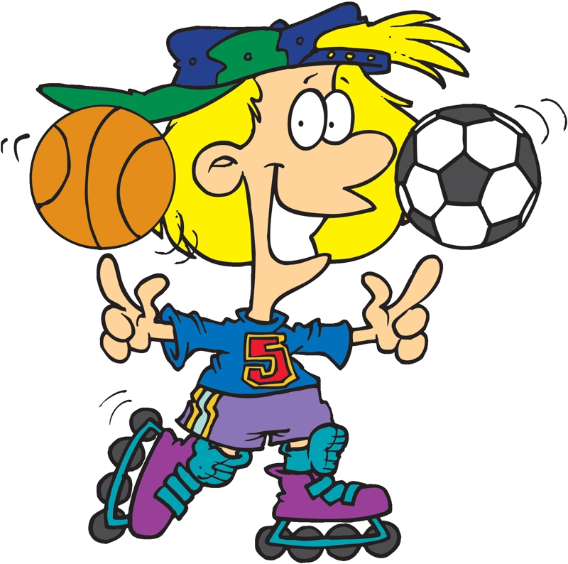 cartoon kids with soccer and football