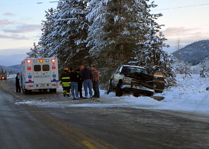 Black Ice Accident on Hwy 2 near Priest River
