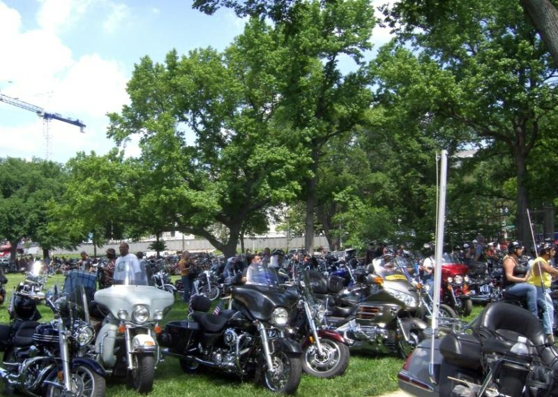 Rolling Thunder - Bikes parked on the mall (with permission by Judy Jennings)