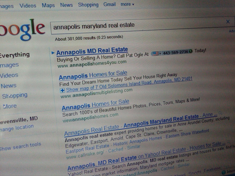 Google.com Search Results for Annapolis Maryland Real Estate