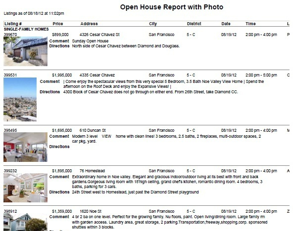 Noe Valley Open house schedule August 19tj
