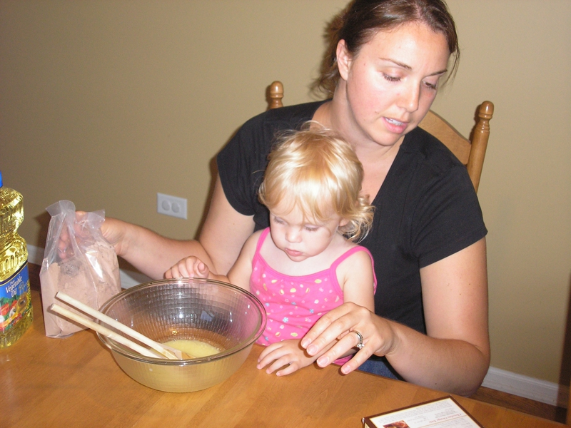 my wife and daugher at HOME making brownies