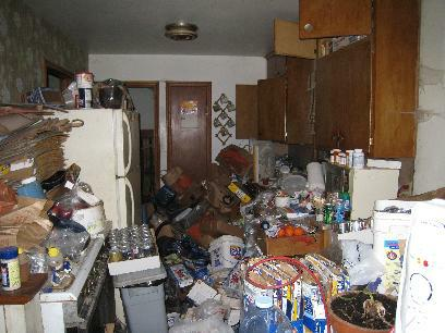 kitchen filled with debris