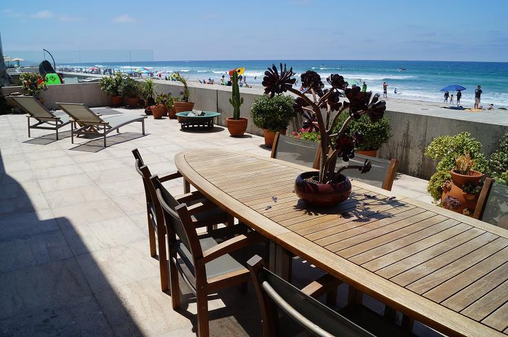 Oceanfront patio at Del Mar beach house for sale