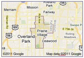 prairie village google map