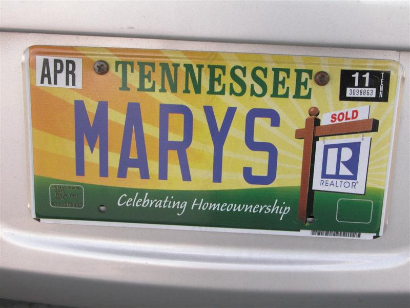 Mary's license tag