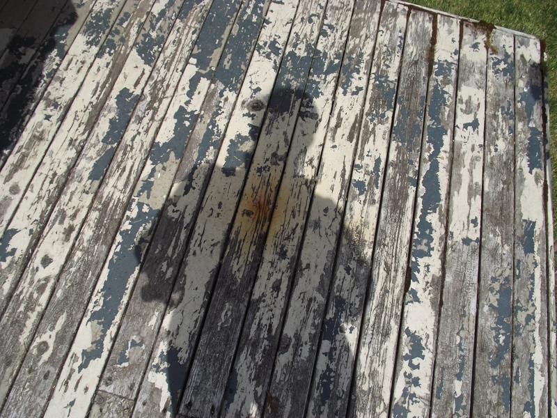 Rust stain on deck below gutter