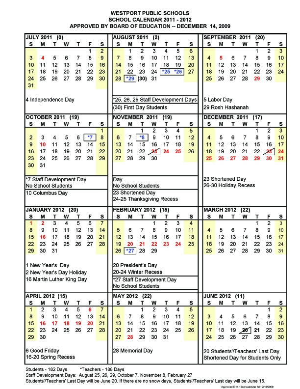 Kindergarten Readiness Calendar Arkansas : School calendar for westport ct