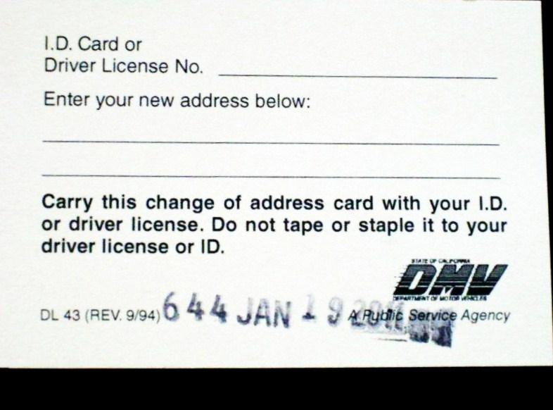 Notifying DMV of change of address
