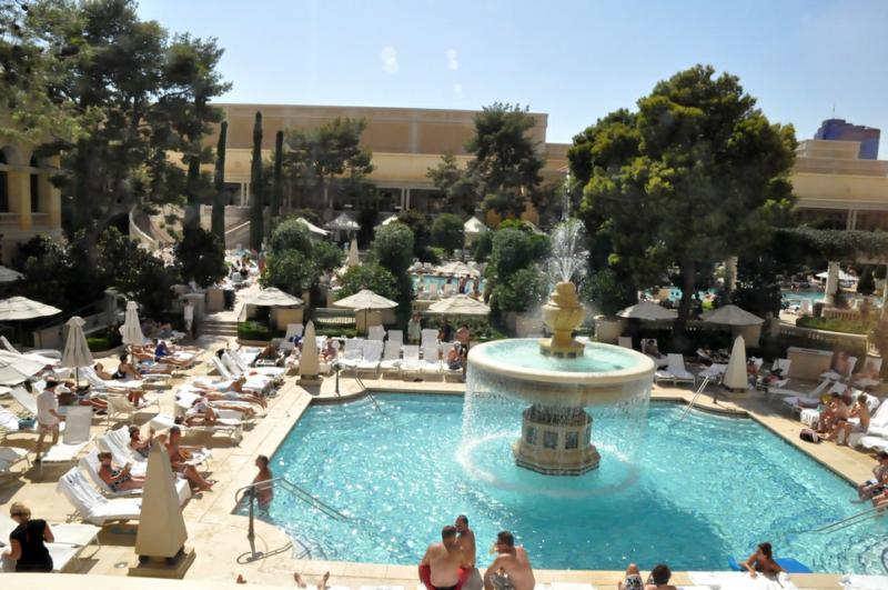 Sun Bathing And Swimming At The Bellagio Pool In Las Vegas Nevada By Robert Swetz