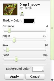 Drop Shadow editing box