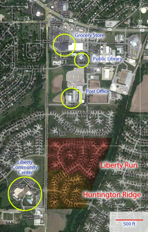 Liberty Run and Huntington Ridge subdivisions in Liberty, Missouri