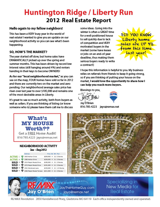 Huntington Ridge and Liberty Run Neighborhood Report August 2012