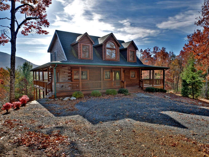 Log cabin for sale in hiawassee georgia for Secluded mountain homes for sale