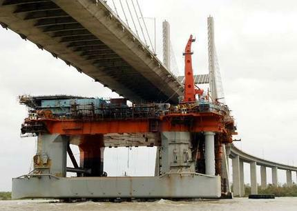 this rig ran into a bridge in AL because it lost its mooring during Hurricane Katrina