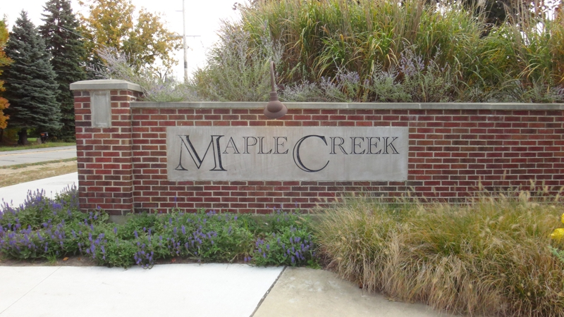 Maple Creek Neighborhood entrance off Silhavy Road in Valparaiso, IN 46383