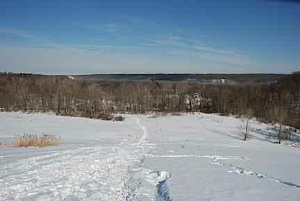Sledding Hill and view of the Cuyahoga Valley