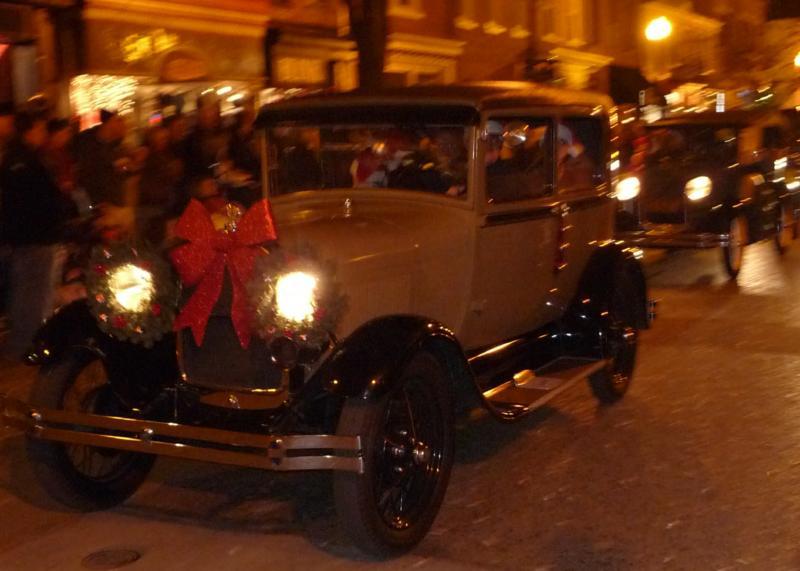 antique car with christmas decorations - Christmas Car Parade Decorations