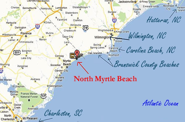 On Beach Real Estate And Hurricanes Myrtle Sc Locator Map