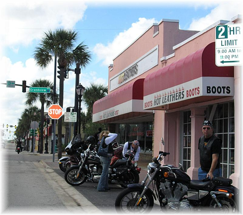 motorcycles on Main Street in Daytona Beach FL
