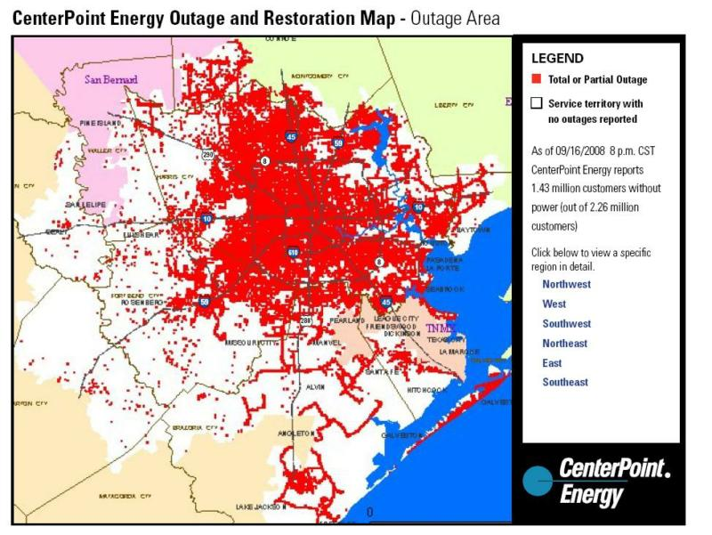 Centerpoint Energy Gives Updates on Electricity Status on bloomington map, center point energy system map, oncor map,