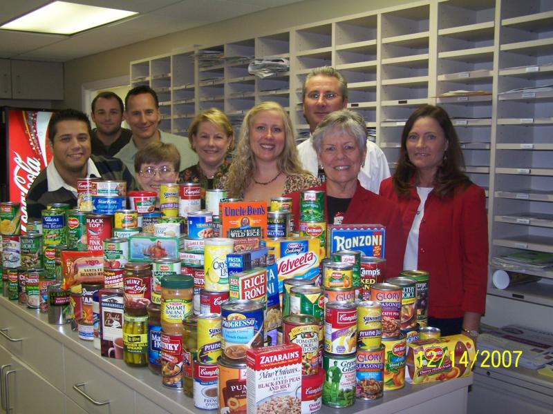 giving back to community - canned goods