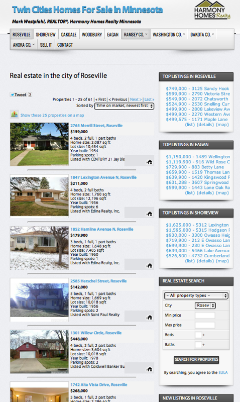 homes for sale in Roseville, Minnesota.  Mark Westpfahl Harmony Homes Realty