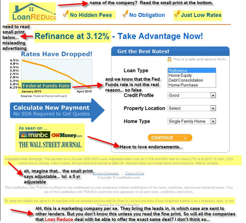 false and misleading mortgage advertising