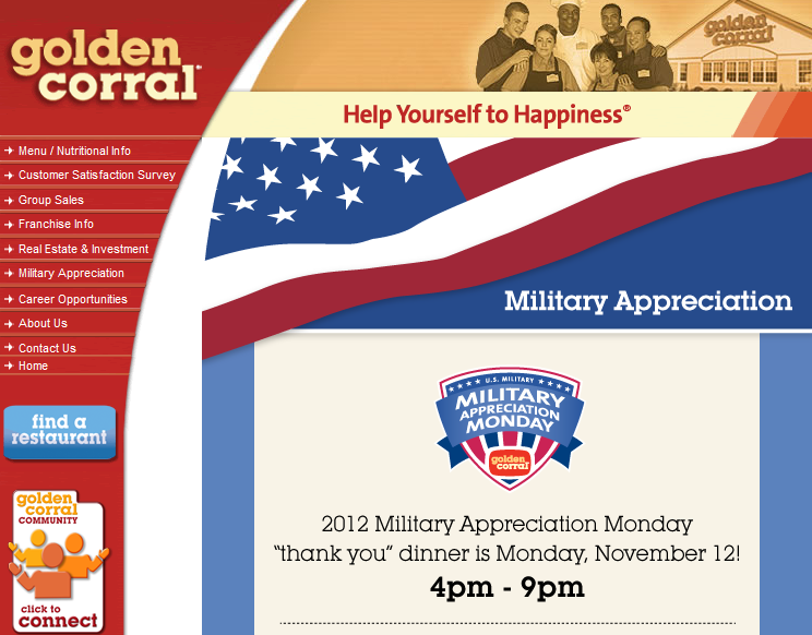 Golden Corral Veterans Day 2012