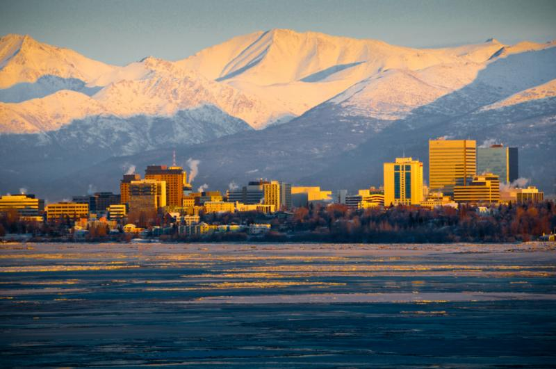 City of Anchorage with Chugach Mountains behind
