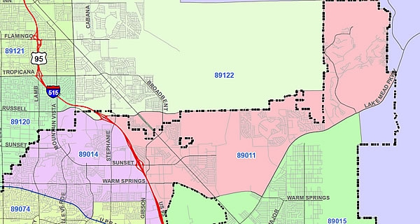 Map of Henderson ZIP Code 89012
