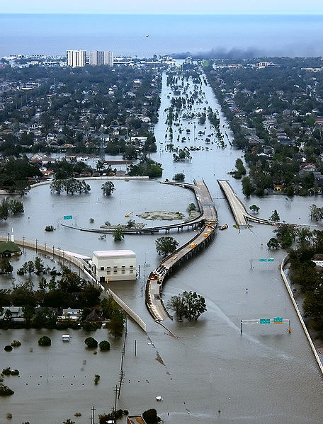 Flooded New Orleans after Katrina in 2005
