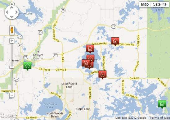 CLICK ON THIS  MAP TO SEARCH FOR HOMES & REAL ESTATE IN HAYWARD WI - CONTACT MADELINE ISLAND REALTY - MadelineIsland@Gmail.com