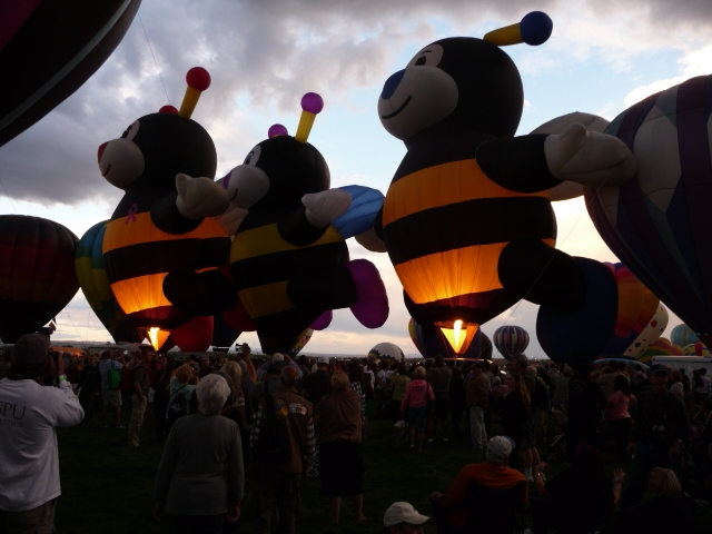 Bee Family Balloons Glowing in Albuquerque