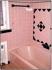 Reglazing tile in Westchester NY - pink bathroom