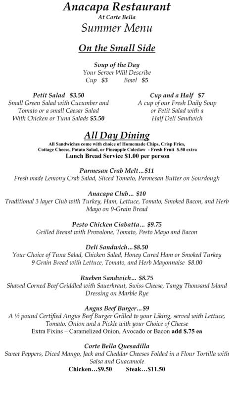 Anacapa Restaurant summer menu