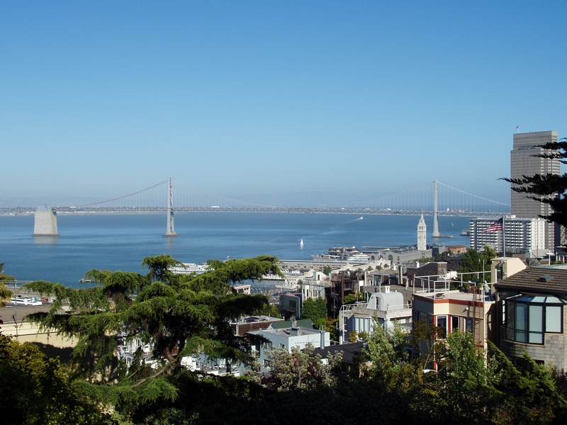 Bay Bridge taken from Coit Tower in San Francisco