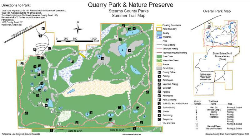 SCUBA dive in St Cloud MN at Stearns County Quarry Park and Nature Preserve