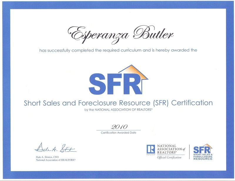 Esperanza Butler Earns Nar Short Sales And Foreclosure Resource