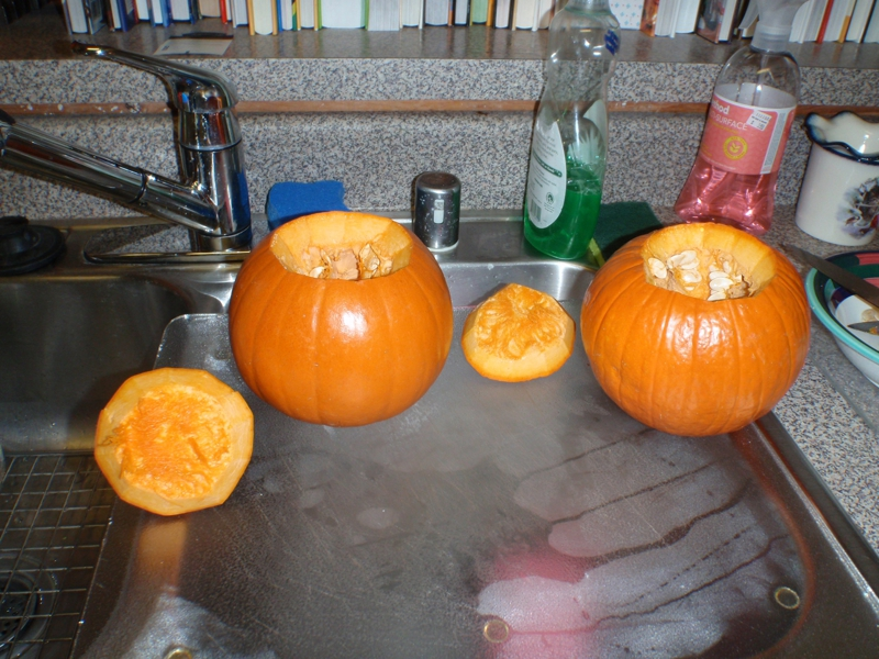 pumpkin before seeds are removed