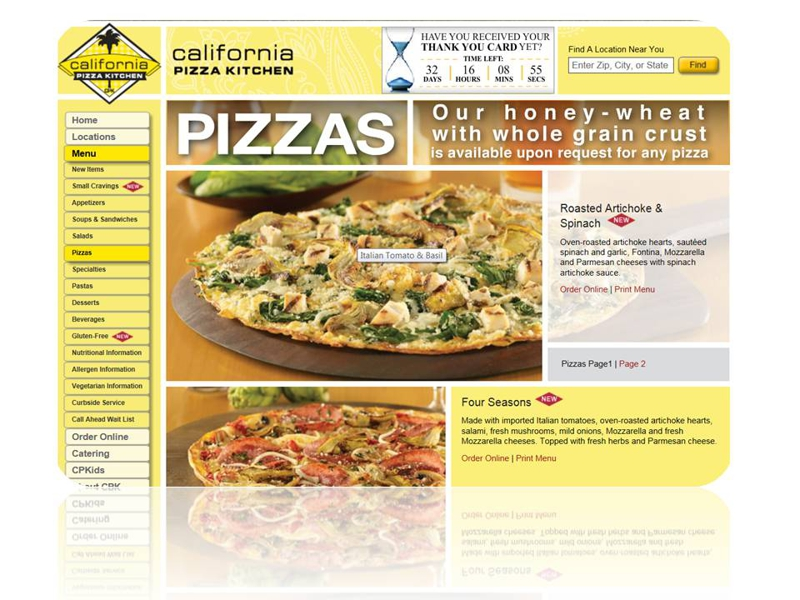 California Pizza Kitchen, the best pizza restaurant in Farmington, CT