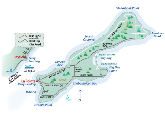 Cars Madeline Island Map