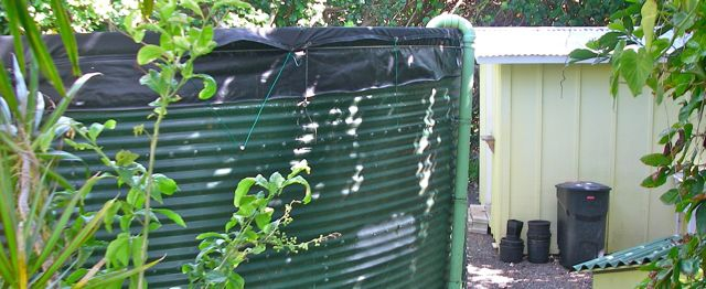 water tank for an off grid water system in Haiku Maui HI