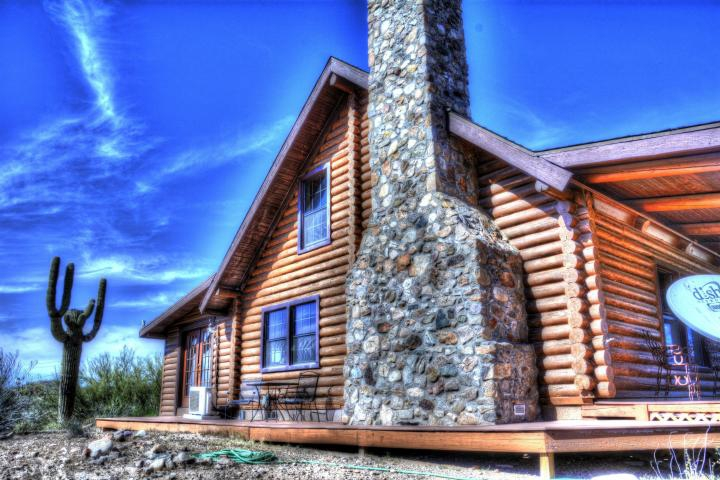 log home front in rio vista hills