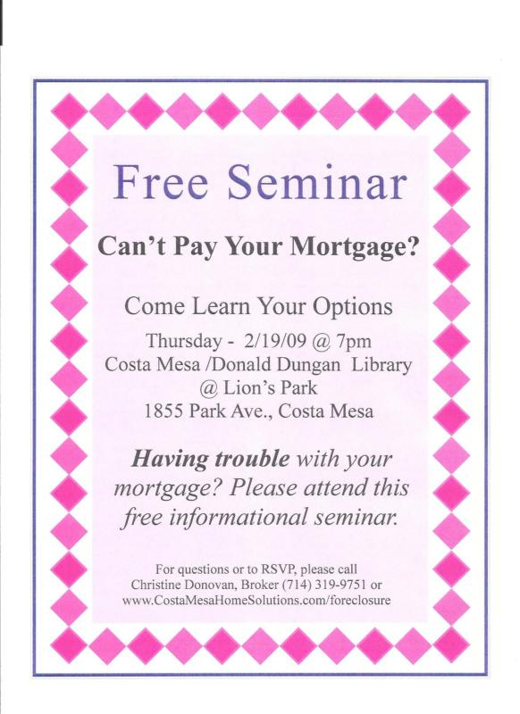Can 39 t pay your mortgage come to a free seminar in costa for Learn mortgage