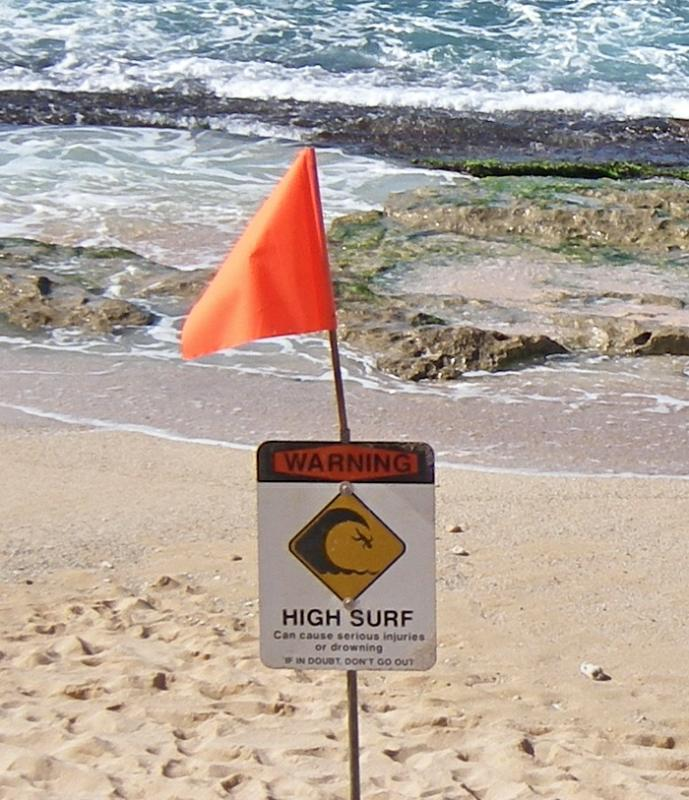 high surf warning at Hookipa Beach Park on  Maui